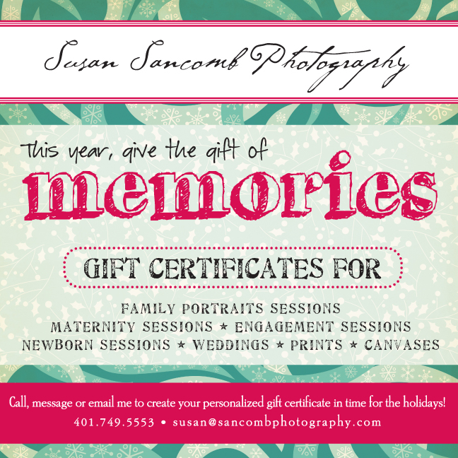 2012 Holiday Gift Certificates Now Available!